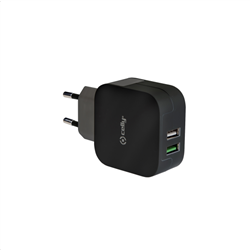 Celly Turbo Charge Travel Adapter 2 USB 3.4A Black