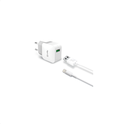 Celly Travel Adapter 2.4A Kit Usb Light Cable White