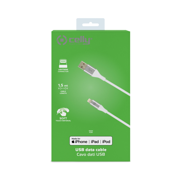 Celly Color Data Cable Extra Strong Lightning Usb White